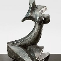 Perle noire, sculpture contemporaine de Marion Bürkle, bronze patiné 33 cm